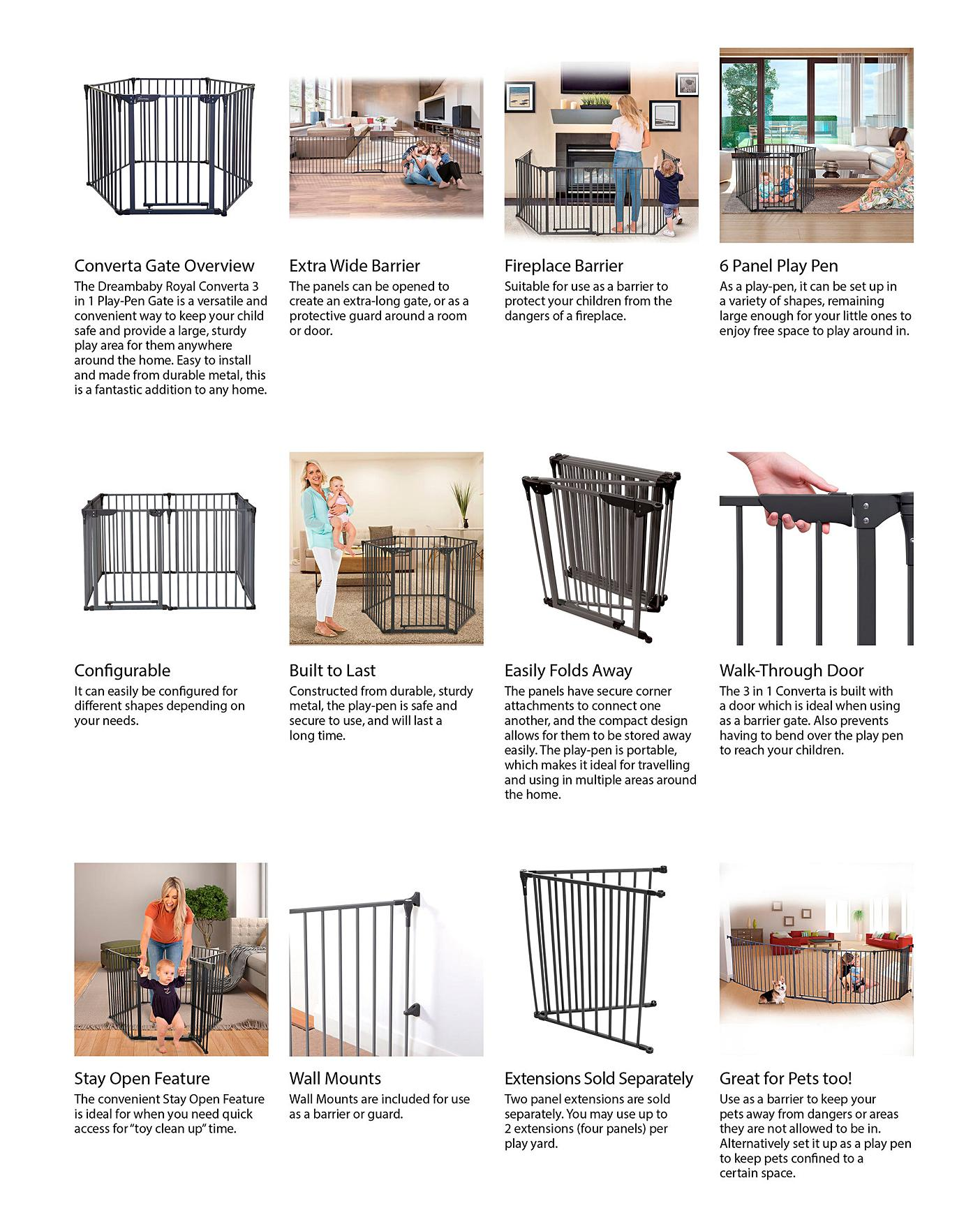 Dreambaby Metal 3in1 Playpen Gate Oxendales