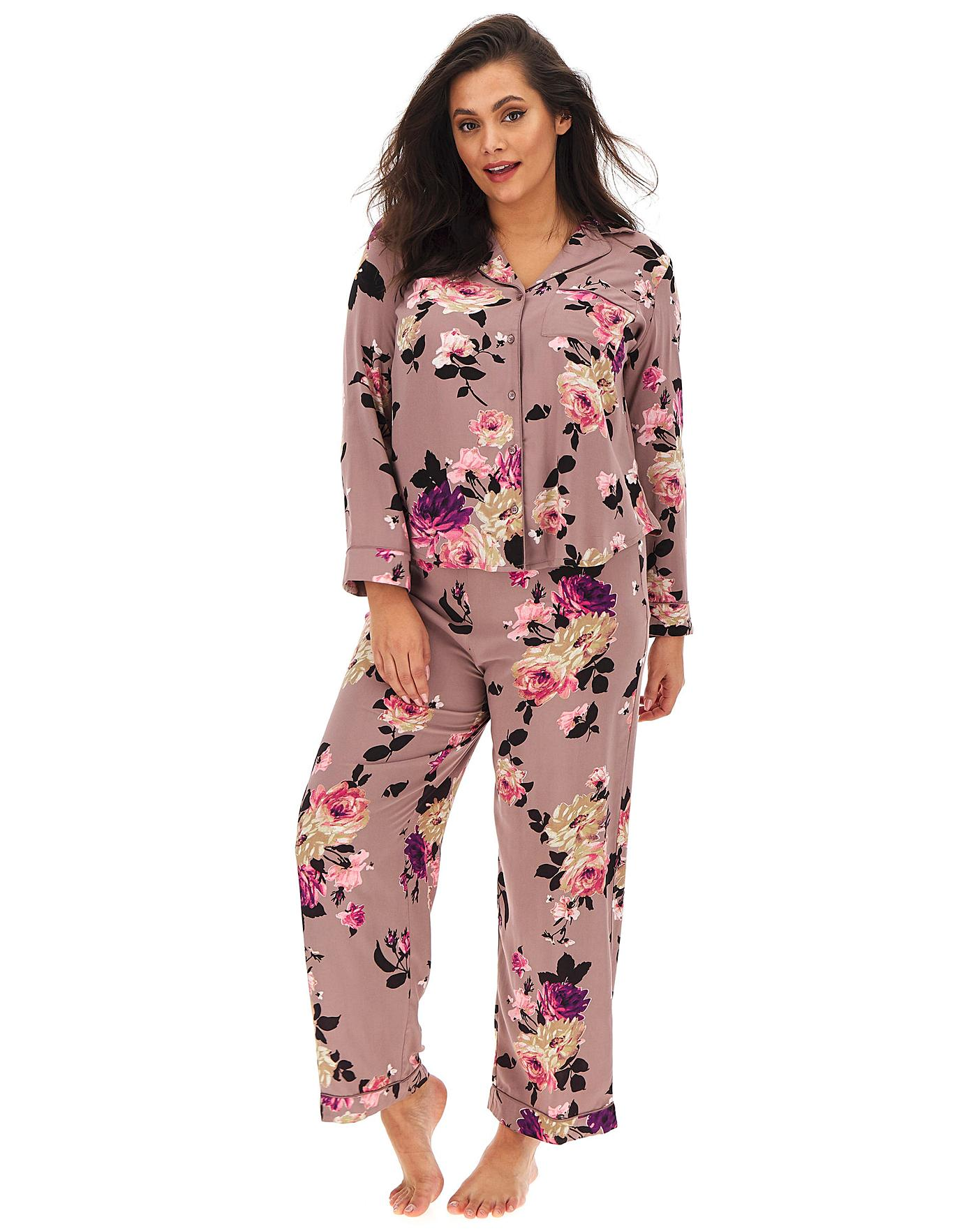 Oasis Lounge Long Sleeve Winter Rose PJ Shirt