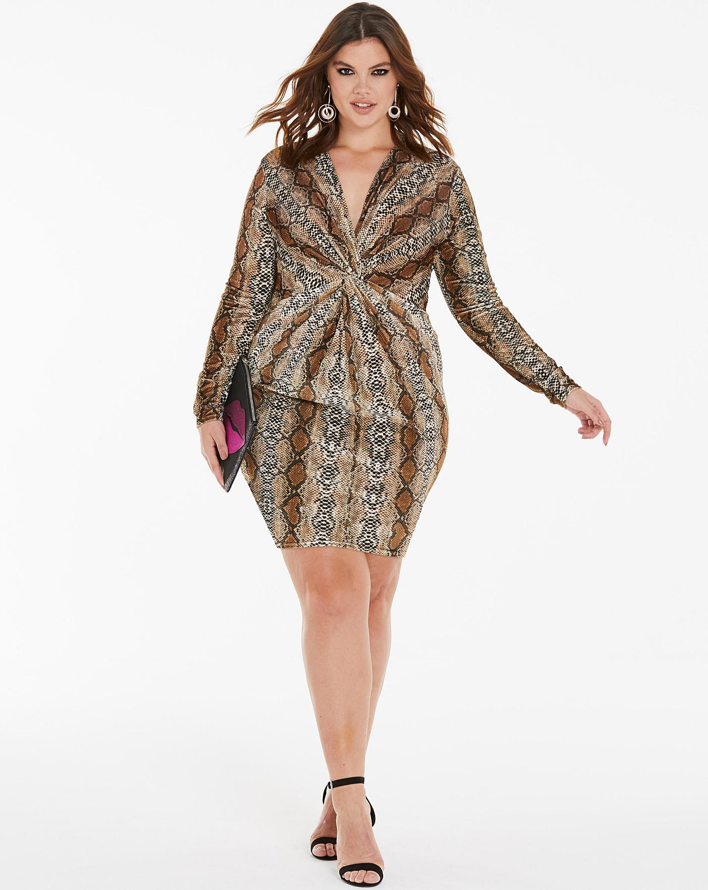 Womens Simply Be Printed Velvet Knot Front Dress Simply Be