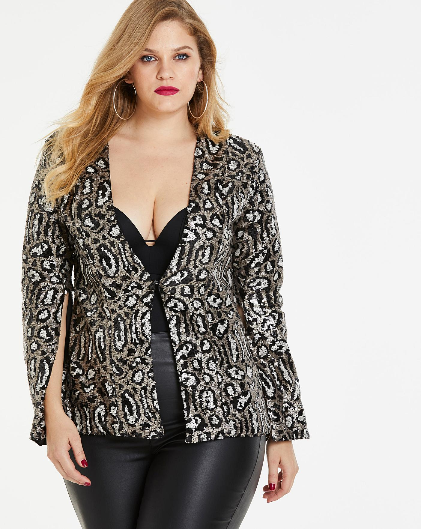 Womens Simply Be By Night Split Sleeve Jacket Simply Be