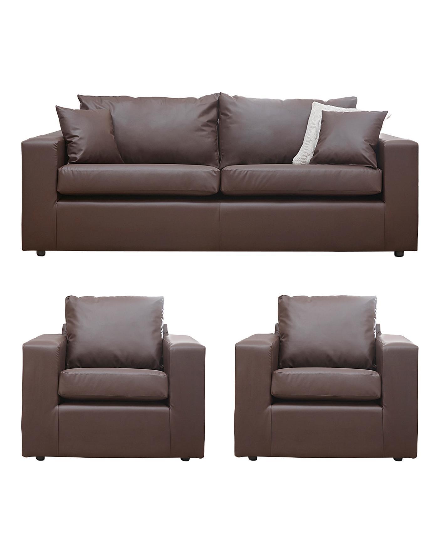 Faux Leather 3 Seater Sofa Plus 2