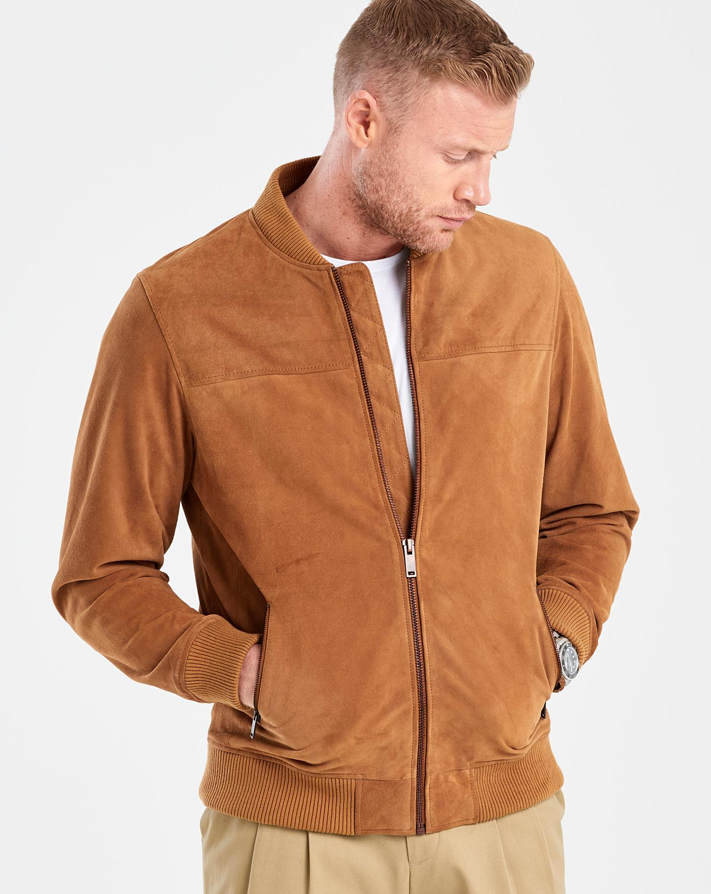 best many fashionable famous designer brand Flintoff By Jacamo Tan Suede Bomber R