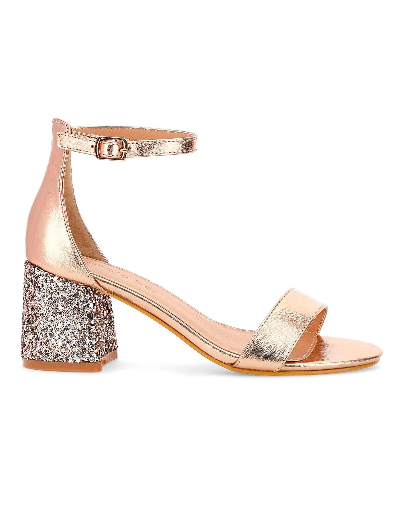 Toni Glitter Heel Sandals Wide Fit