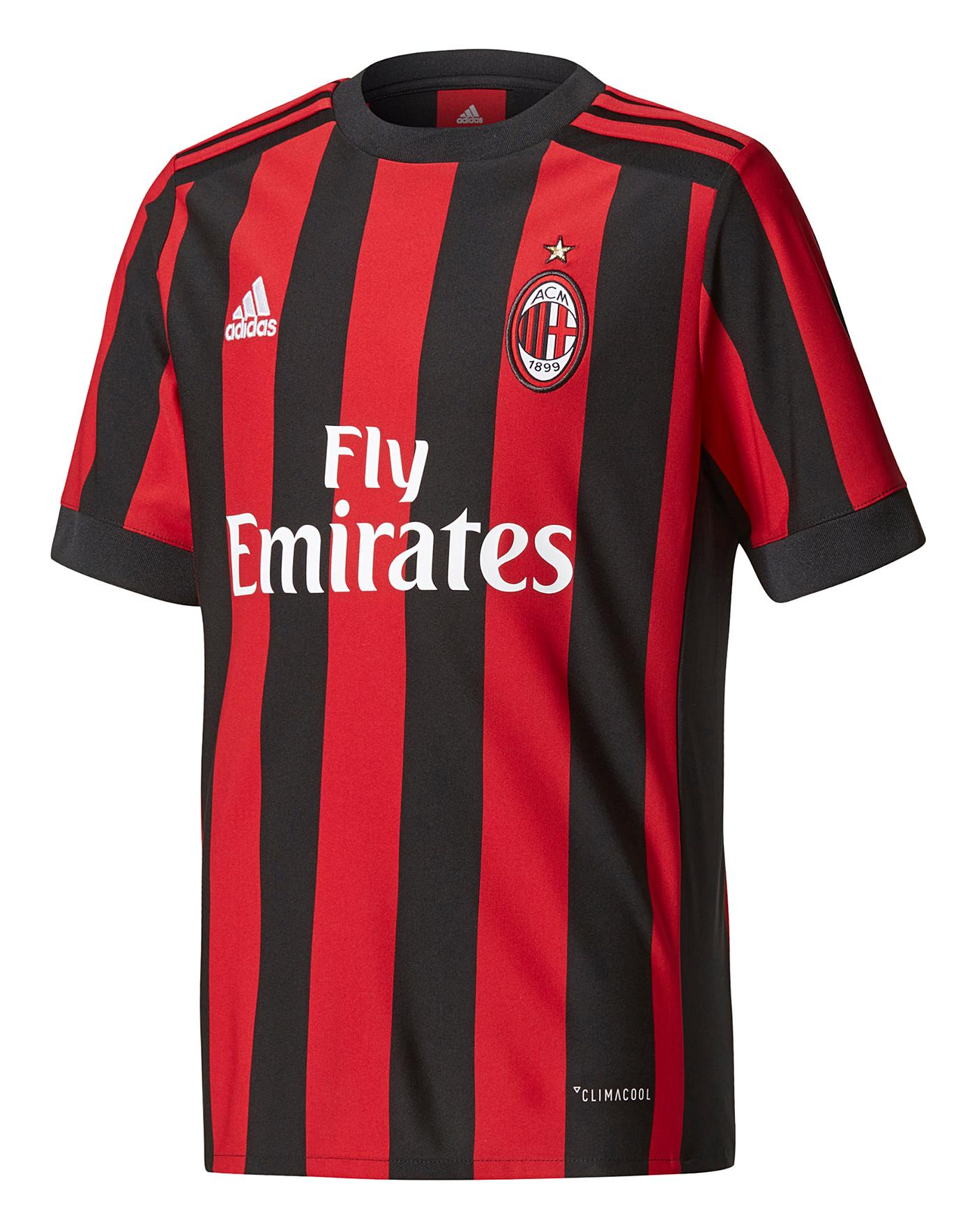 Agotar Digno Maestría  Adidas AC Milan Boys Youth Jersey | J D Williams