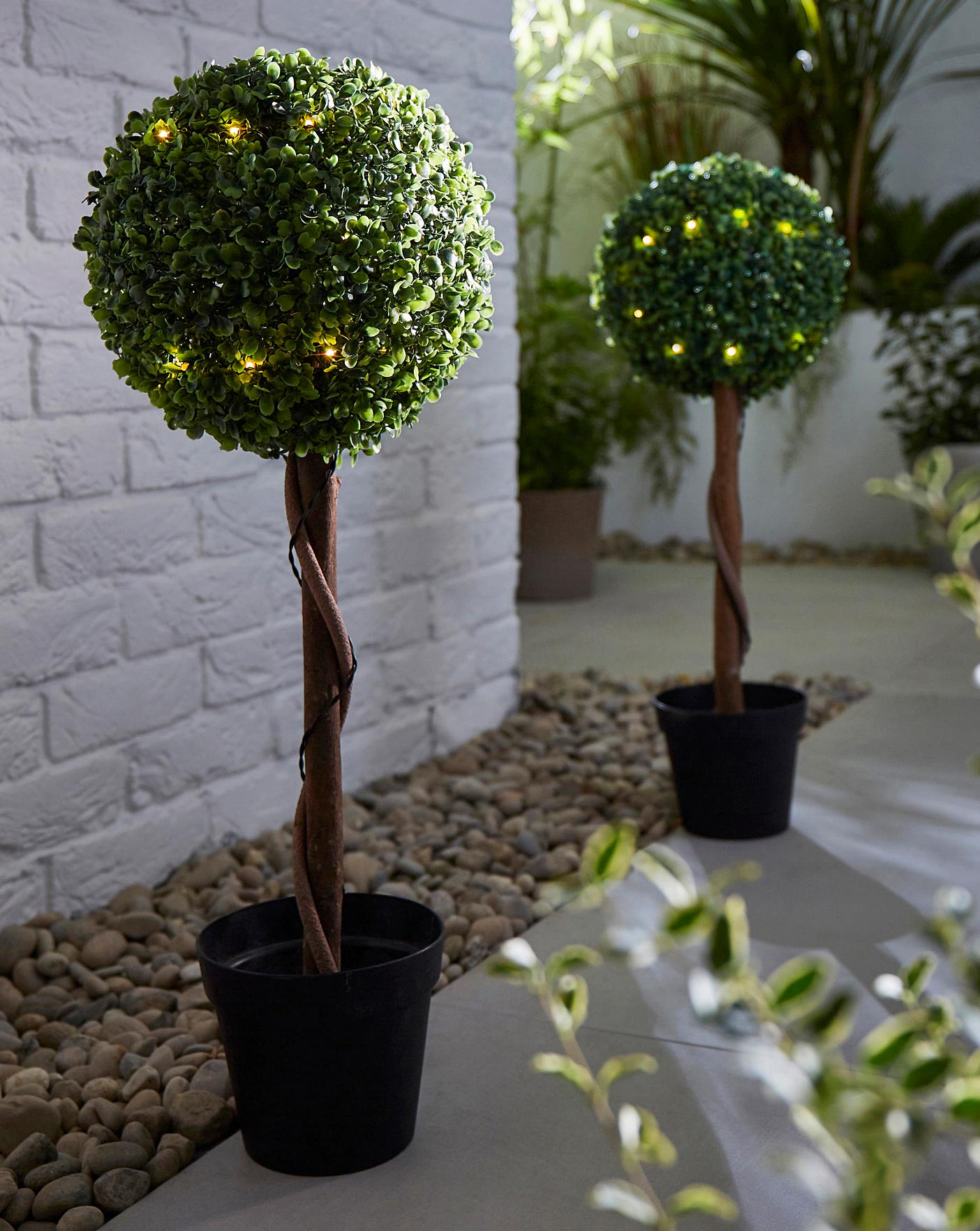 Set 2 Artificial Topiary Lit Ball Trees Oxendales