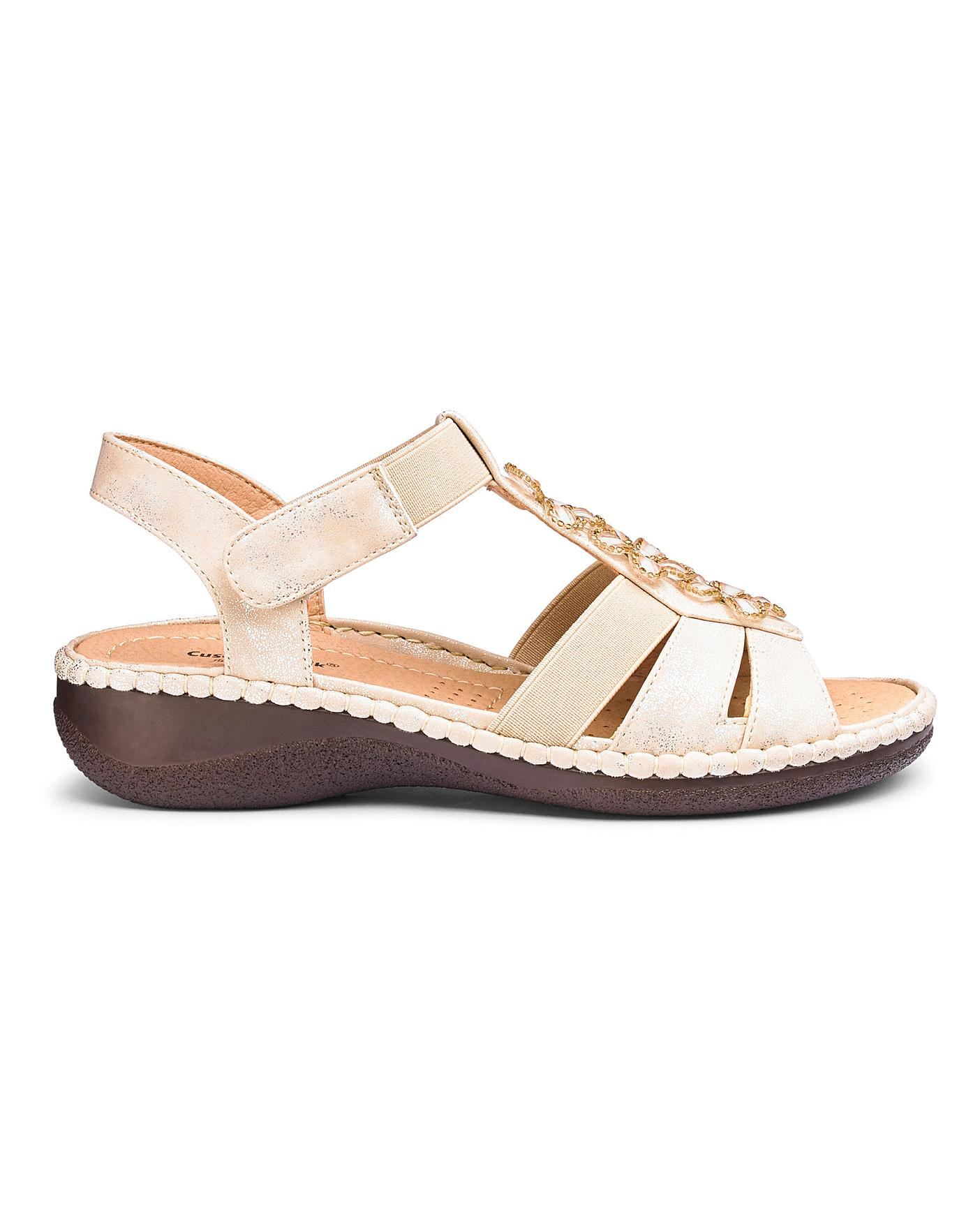Soft Gold Cushion Walk Sandals E Fit
