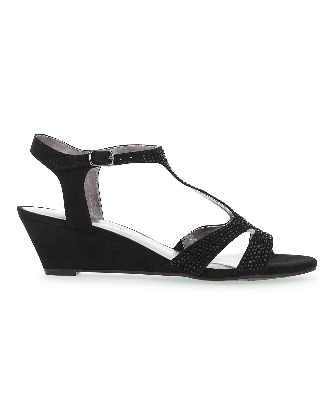 T Bar Wedge Sandals E Fit | Oxendales
