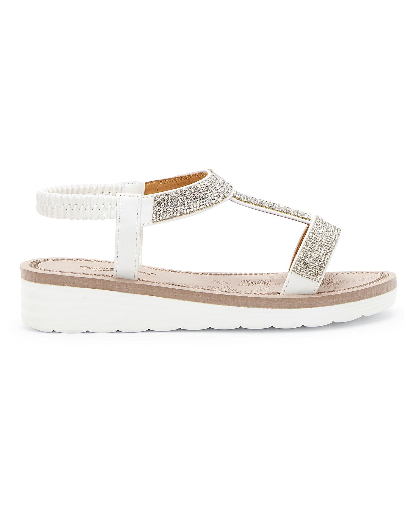 Cushion Walk Diamante Sandals E Fit   J
