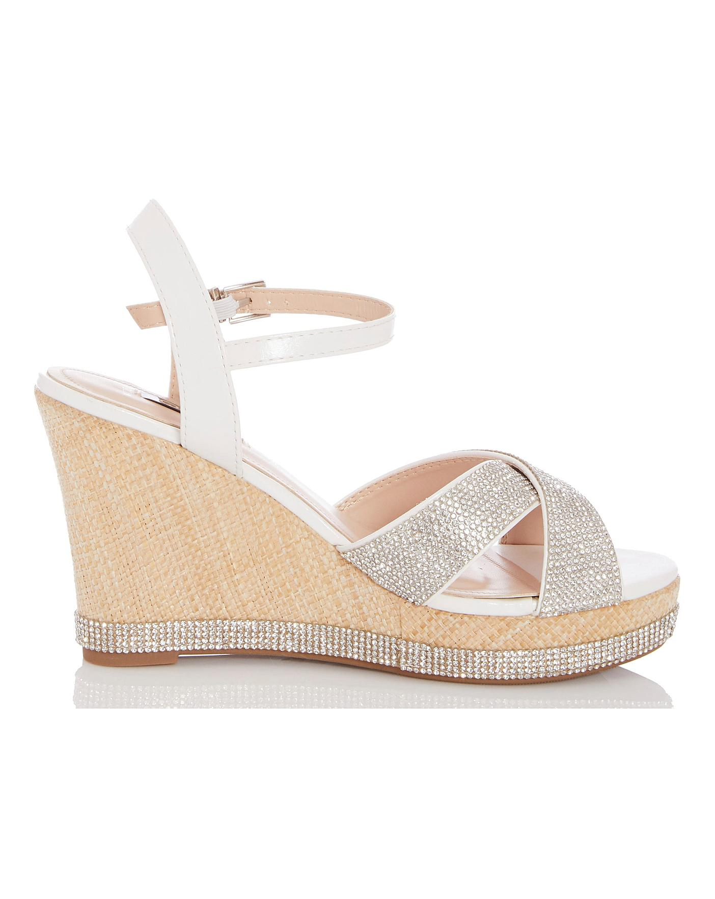1e410ae7d58 Quiz Glitter Wedge Sandals