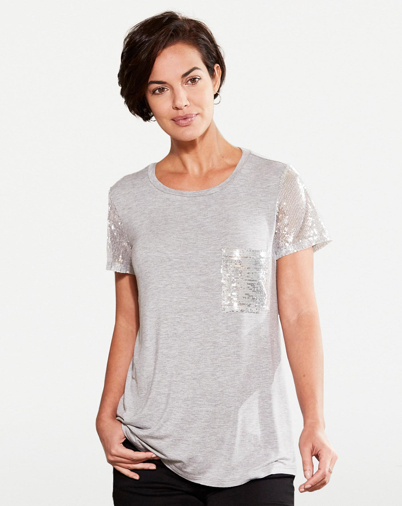 30 Womens Sequin Sleeve And Pocket T-Shirt Grey Marl