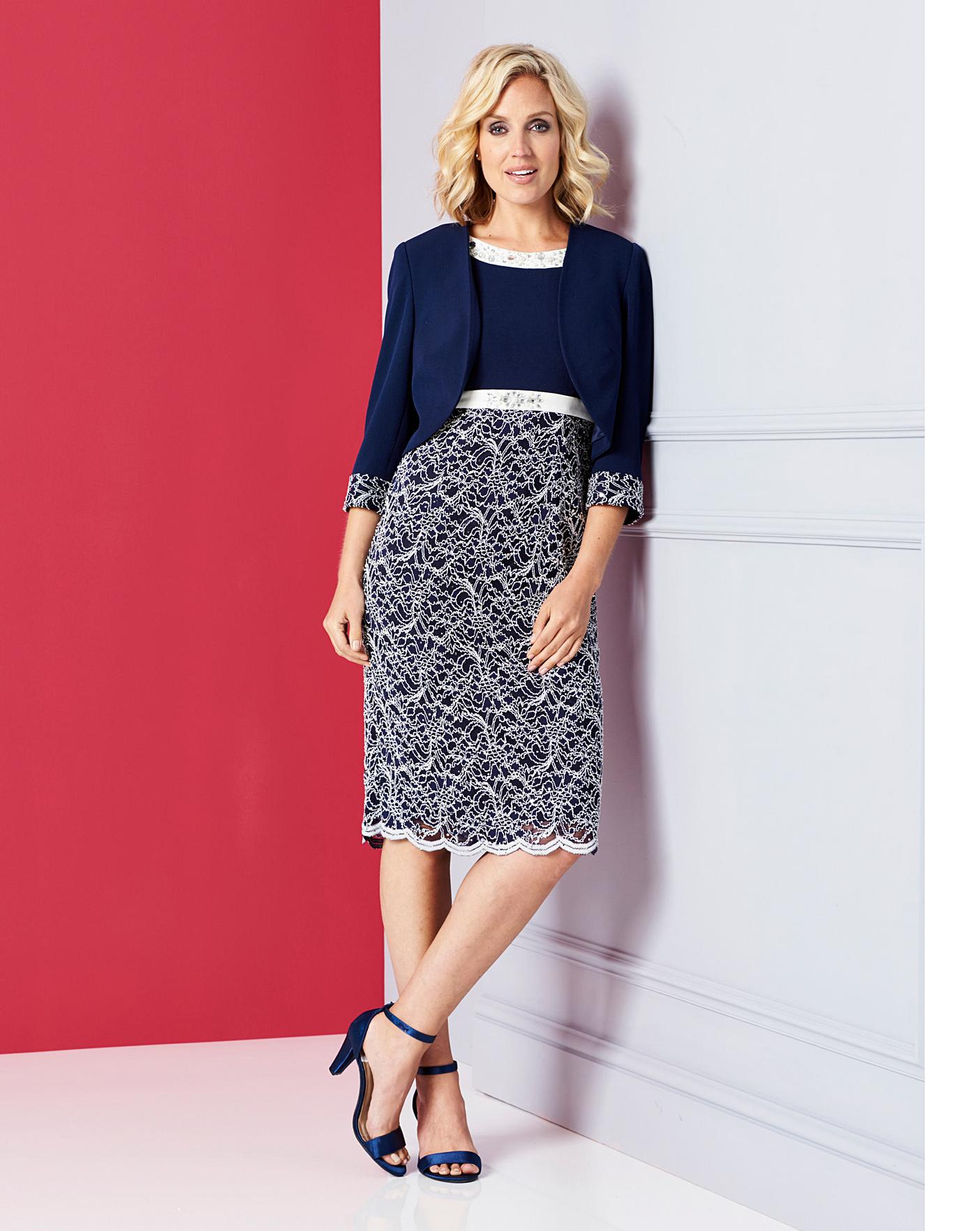 Nightingales Navy Lace Dress And Jacket