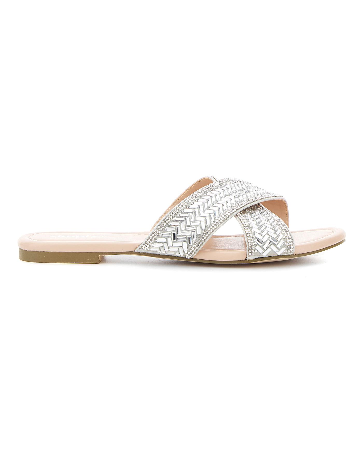 Venice Diamante Flat Sandal Wide Fit