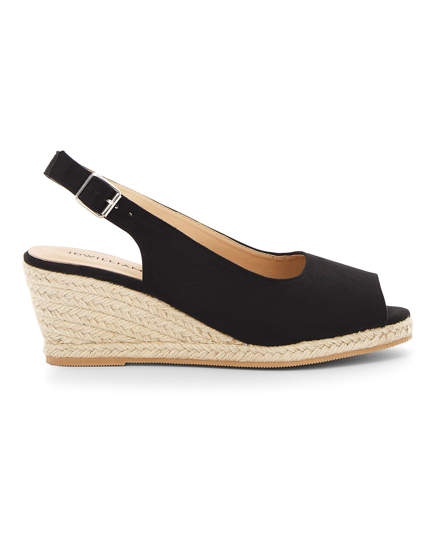 Peep Toe Espadrille Wedge Sandals E Fit