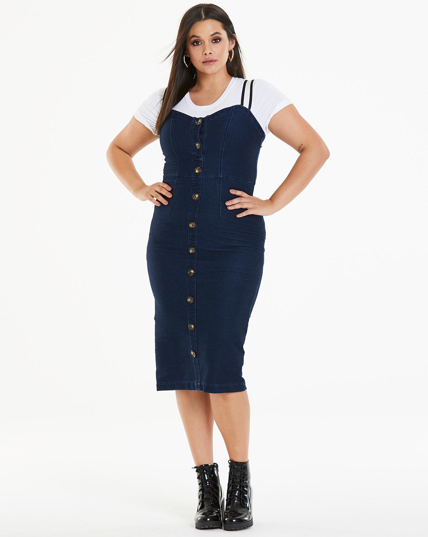 e5b17ab28107 Jersey Denim Button Front Midi Dress | Simply Be