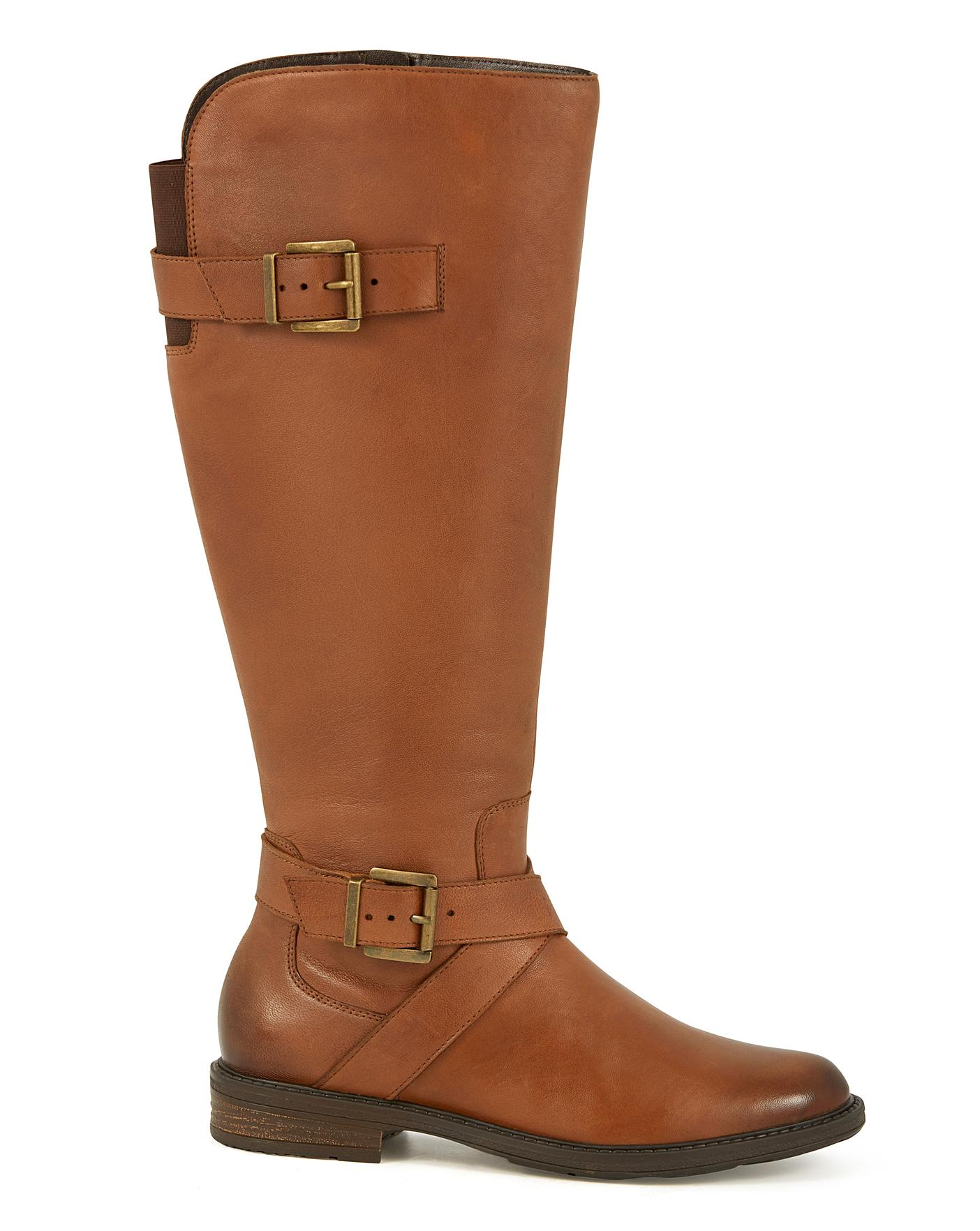 Leather Boots EEE Fit Curvy Calf | J D