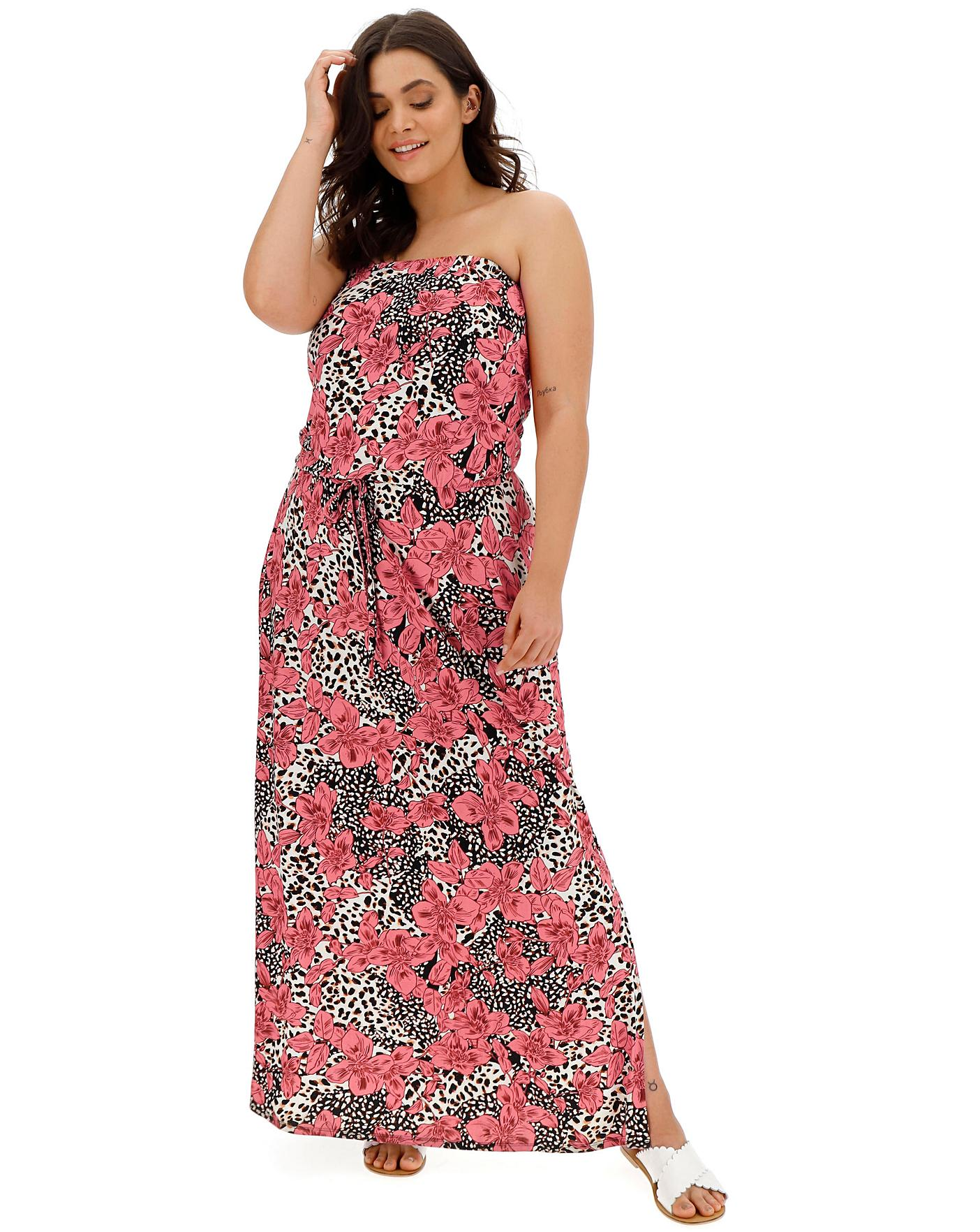 cd0fab6d49 Pink Animal Bandeau Maxi Dress