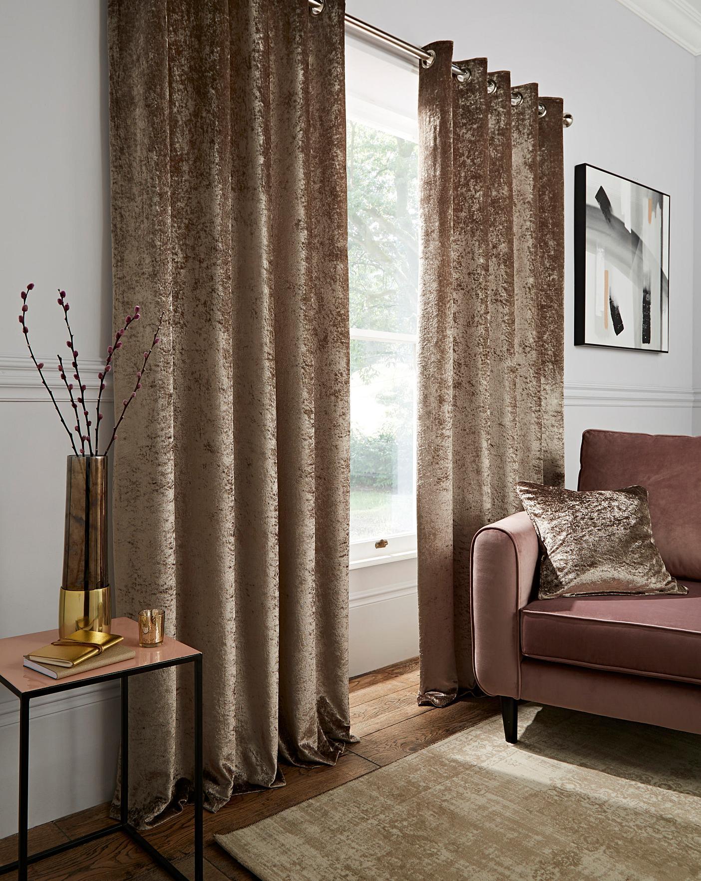 Crushed Velvet Long Eyelet Curtains Oxendales
