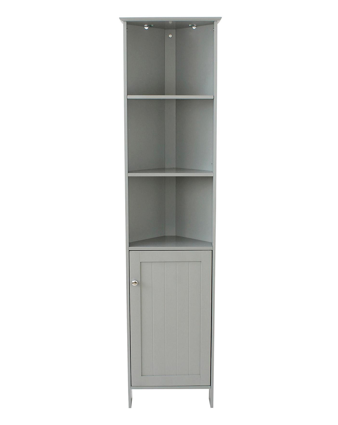 New England Corner Tall Cupboard Grey J D Williams