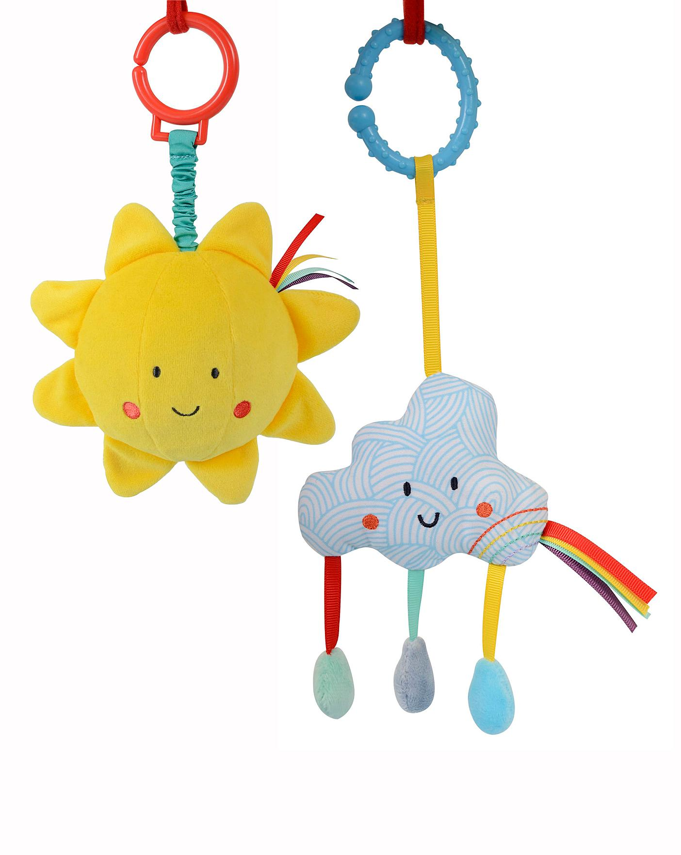 Say Hello Sun and Cloud Stroller Toy 2pk