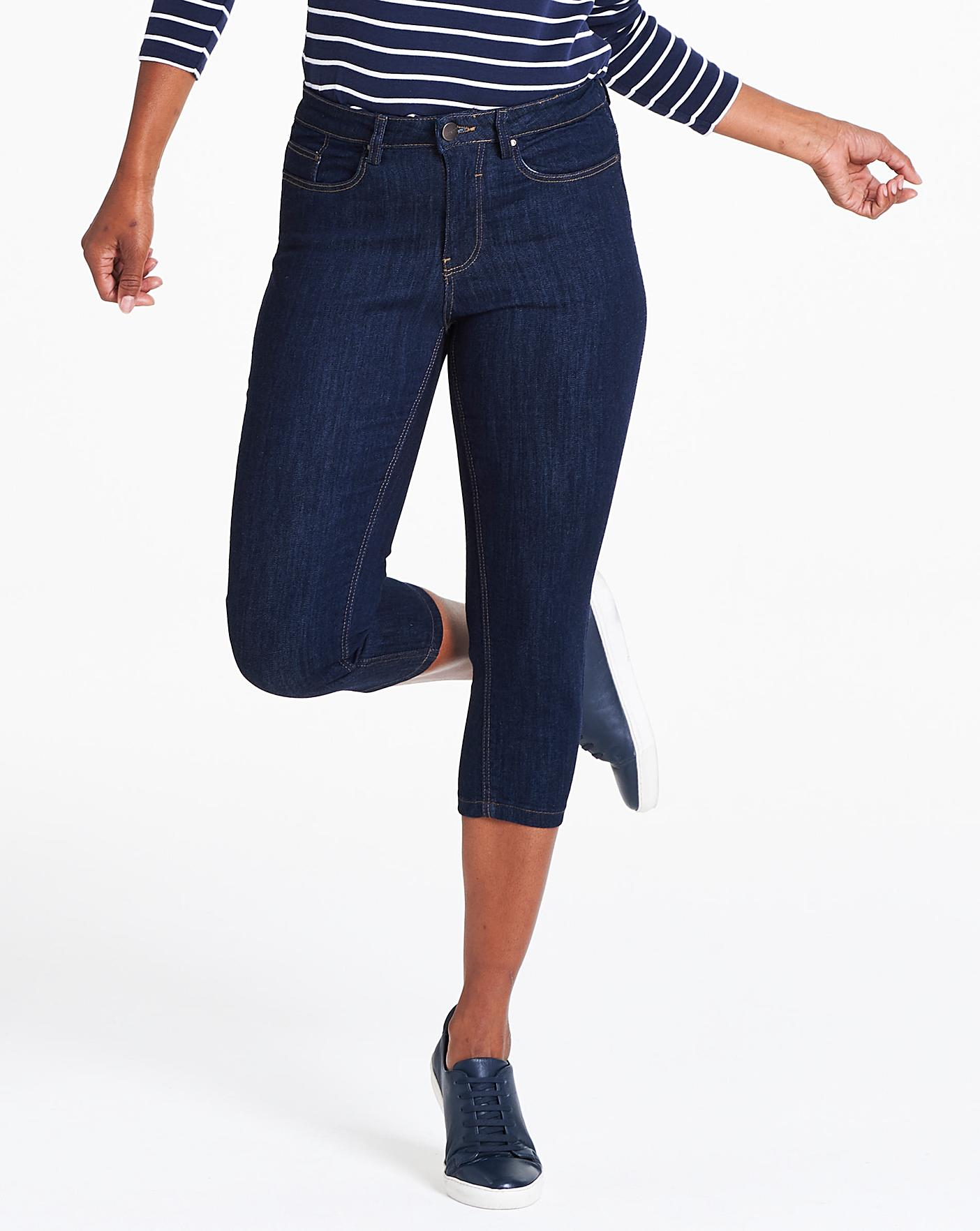 Indigo Crop Jeans Crazy Clearance