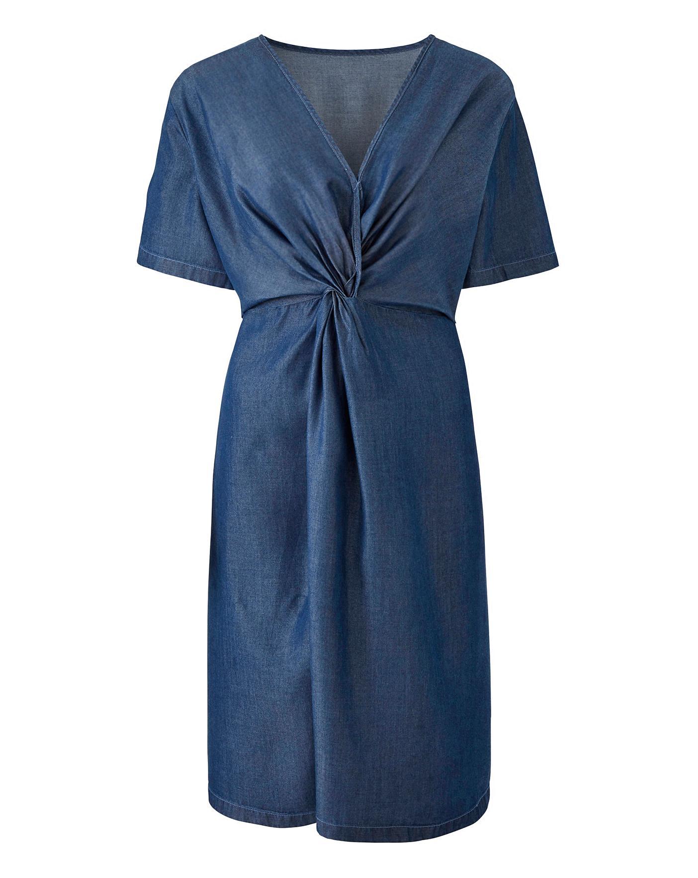 8f9b4b70fb668 Soft Tencel Denim Twist Knot Front Dress | Simply Be