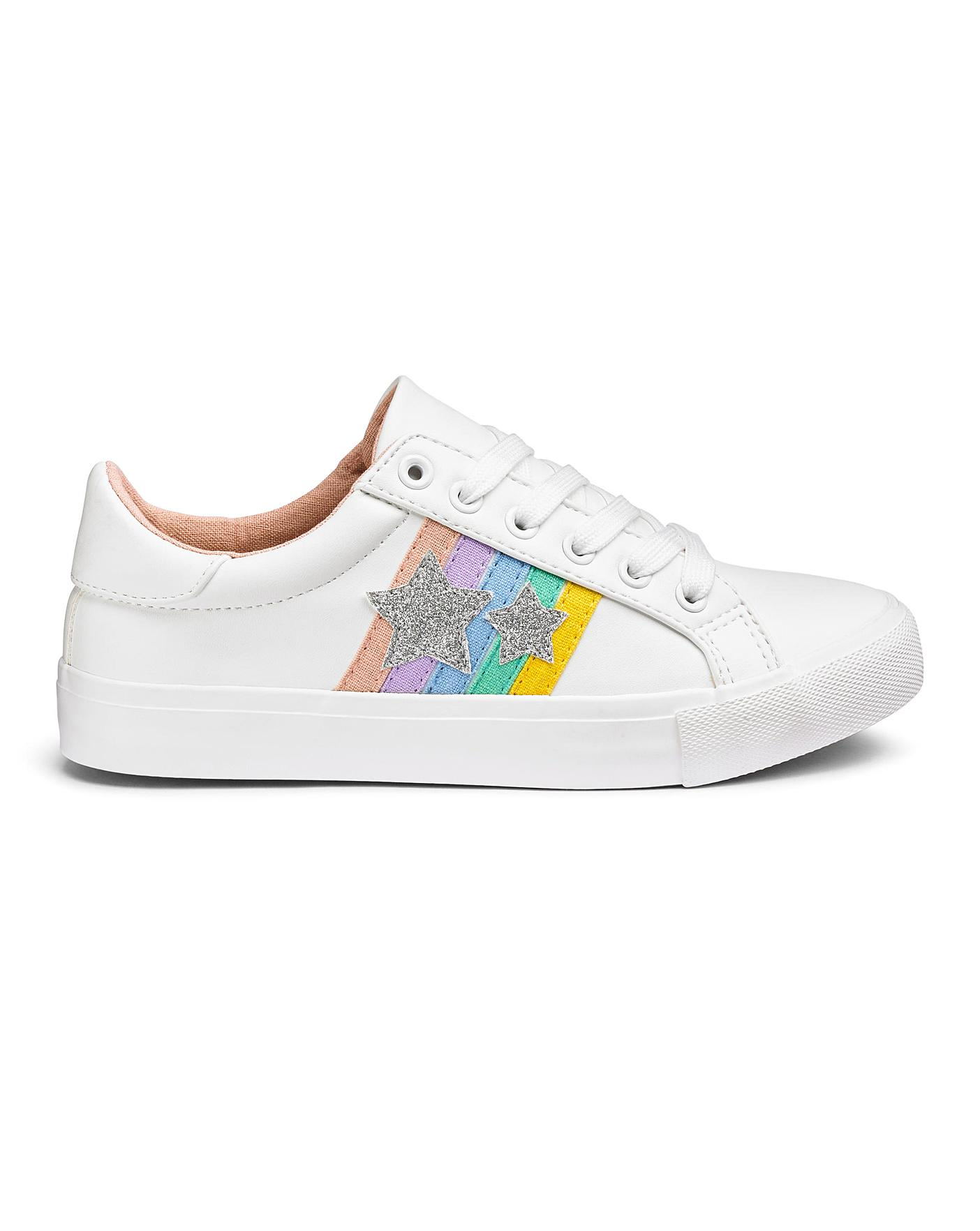 19a94612fb71b Sonia Rainbow Lace Up Trainer Extra Wide