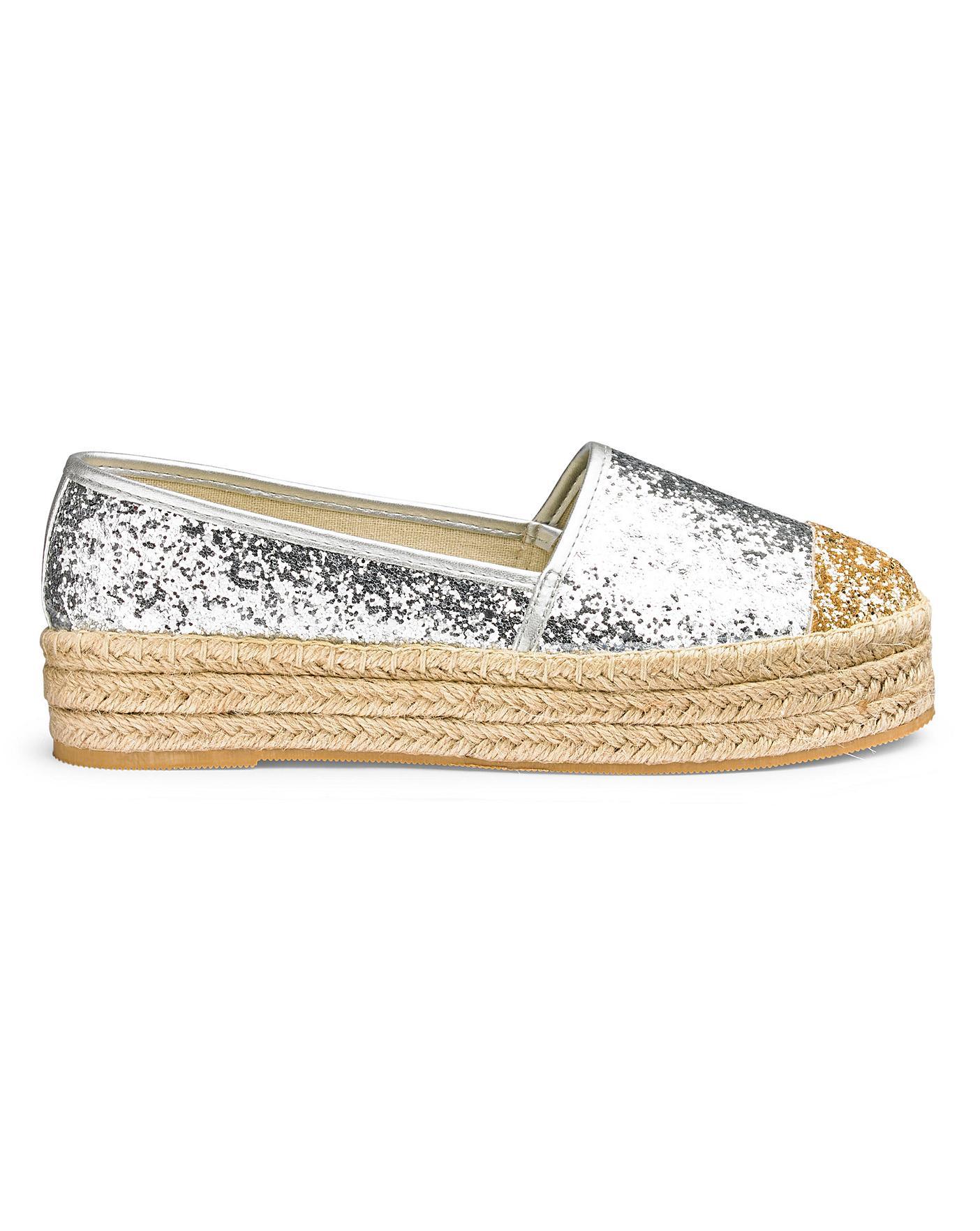 silver glitter espadrilles