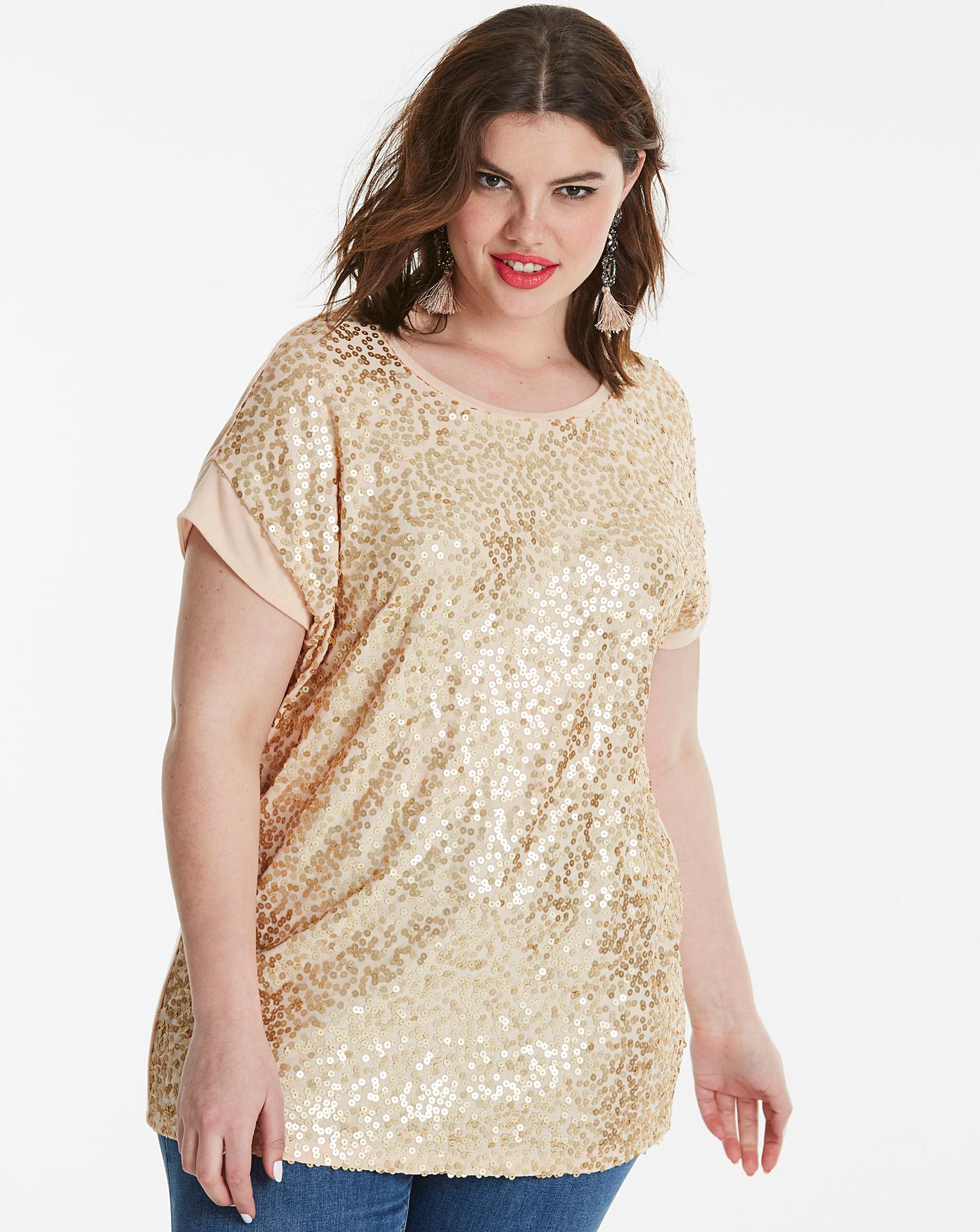 Sequin Front Top   Simply Be
