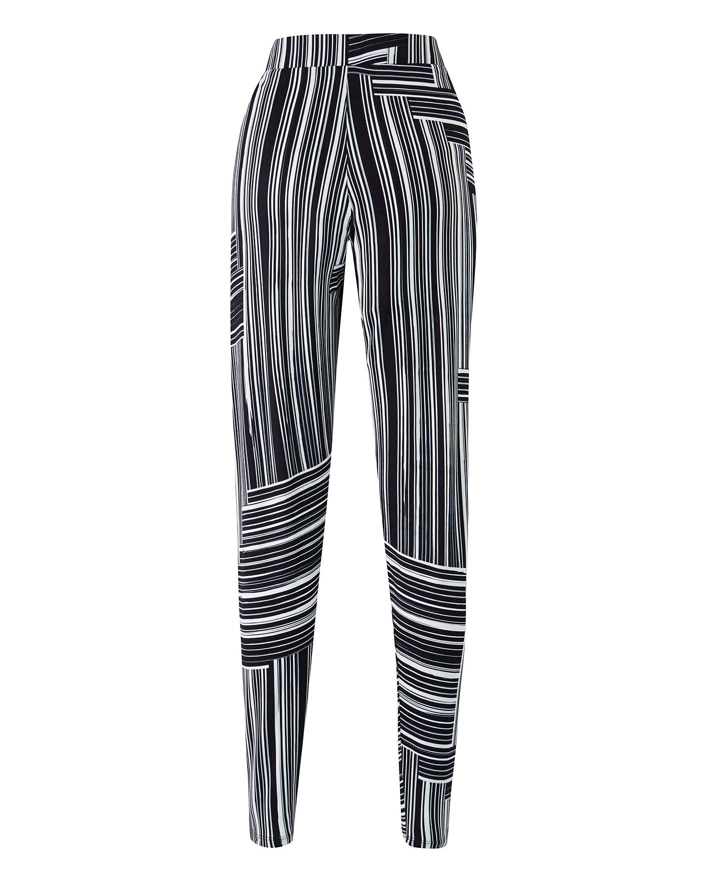 Womens Geo Striped Stretch Jersey Harem Tapered Leg Trousers