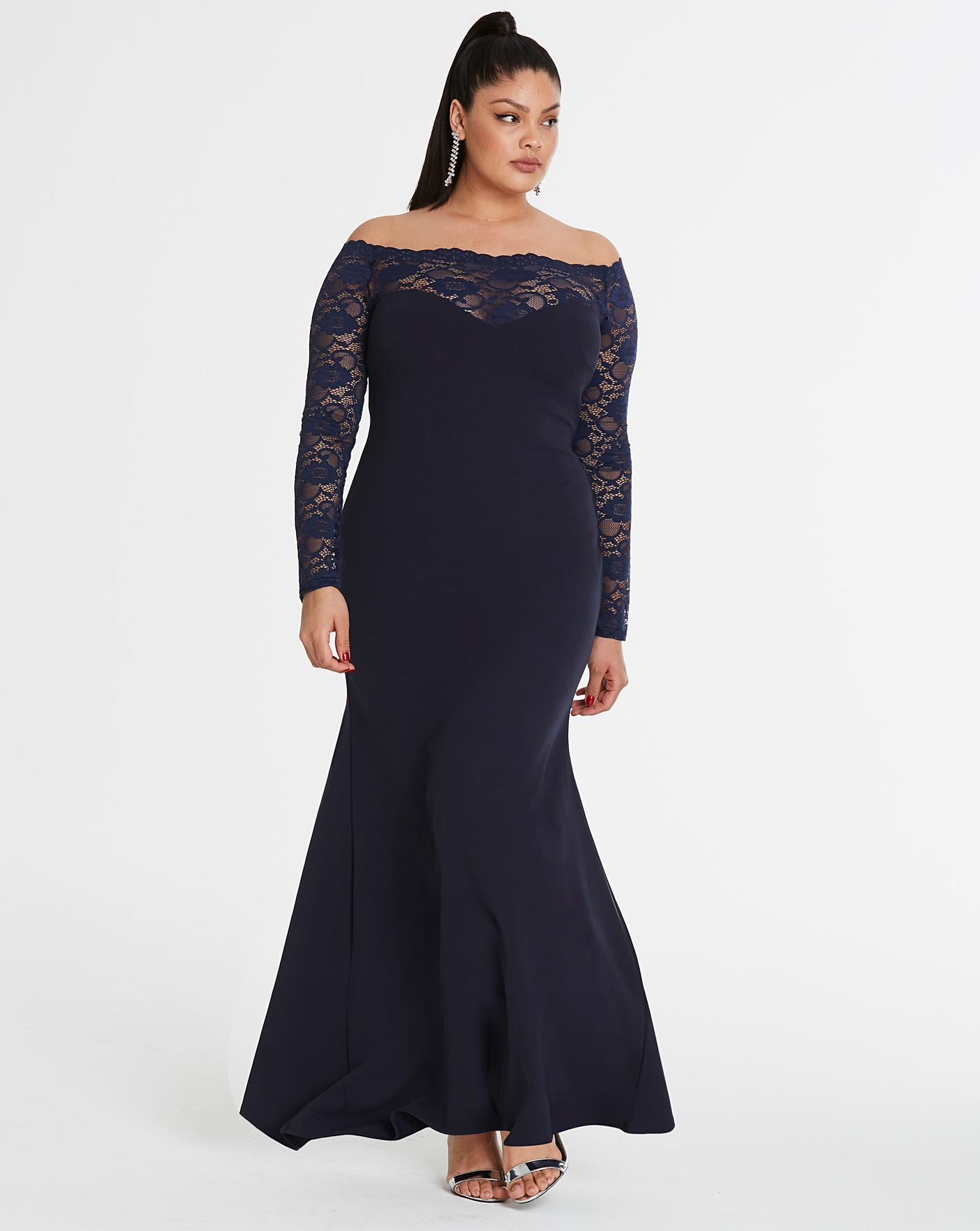 Simply Be By Night Bardot Lace Dress