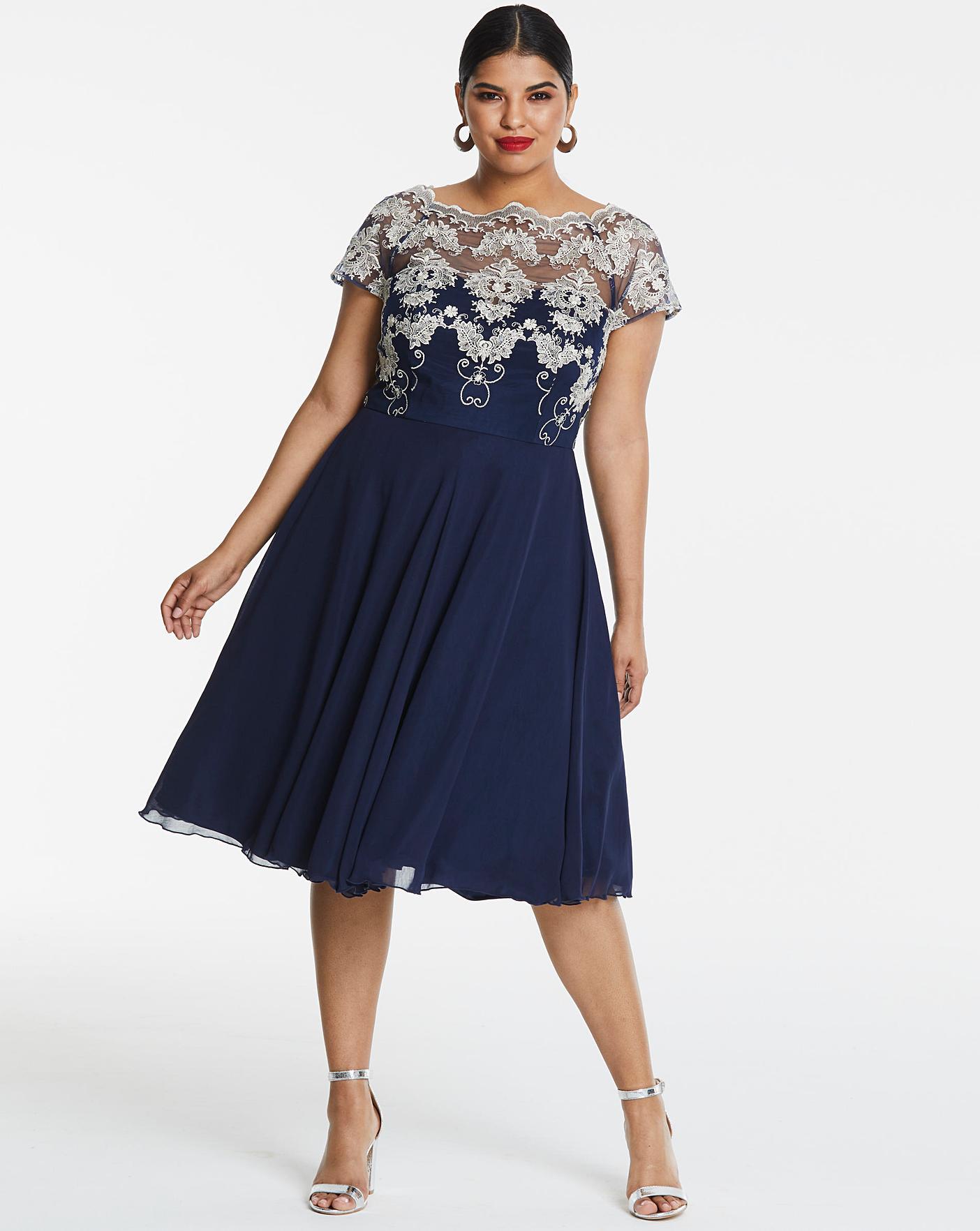 417fb49ff252 Chi Chi London Navy Lace Midi Dress   Simply Be
