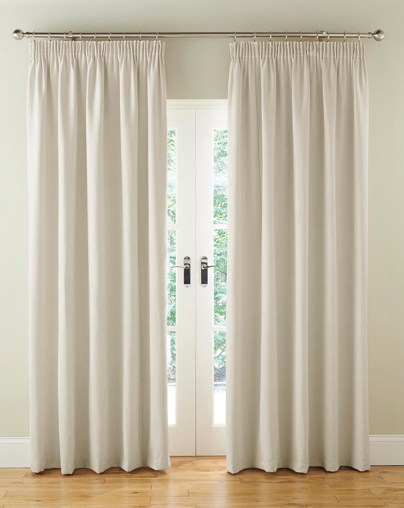 Faux Suede Pencil Pleat Blackout Lined Curtains