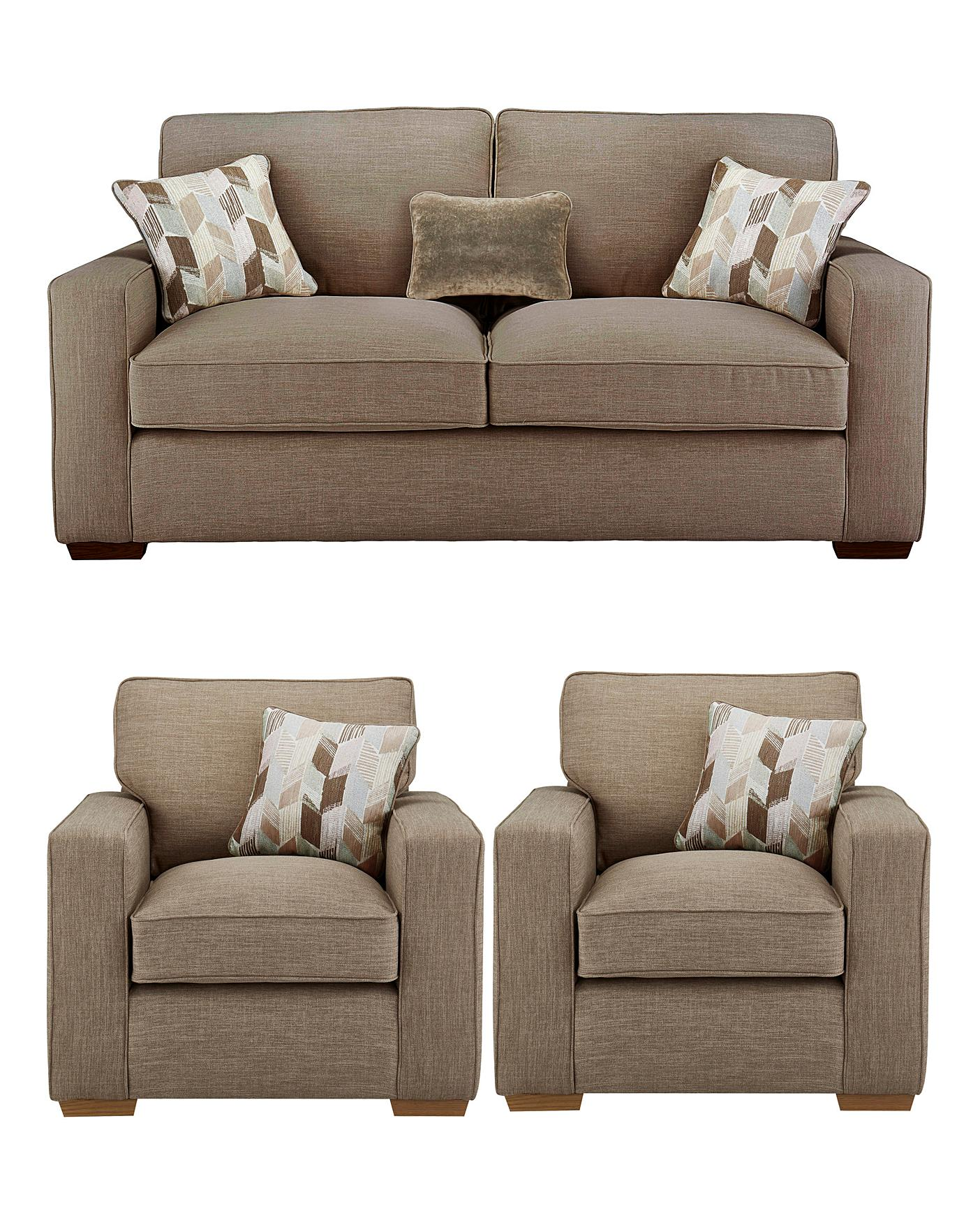 3 Seater Sofa And 2 Chairs - wood chair