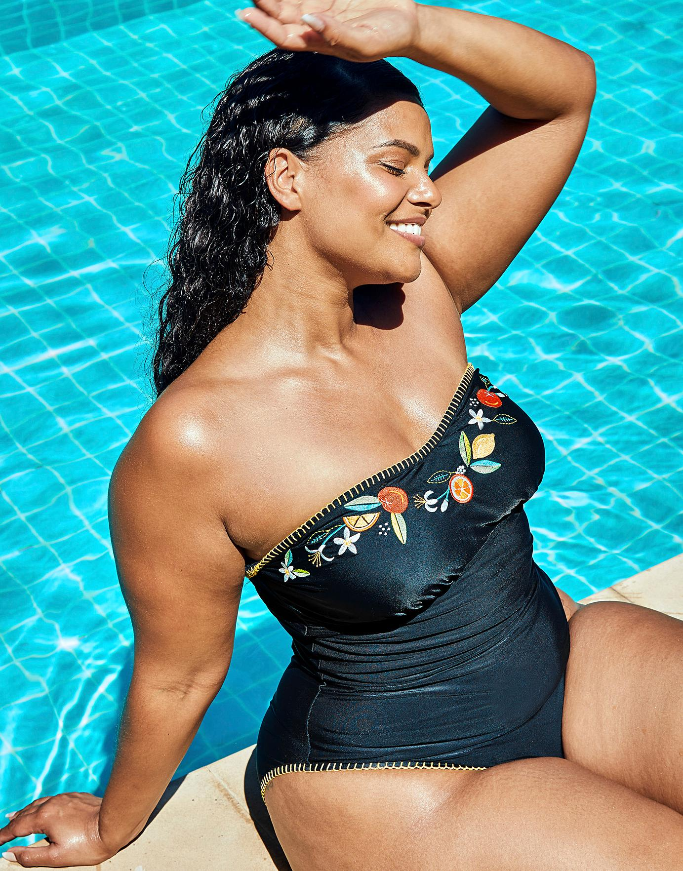SimplyBe Seville Curve Non-Wired Embroidered Strapless Bandeau Tummy Control Swimsuit