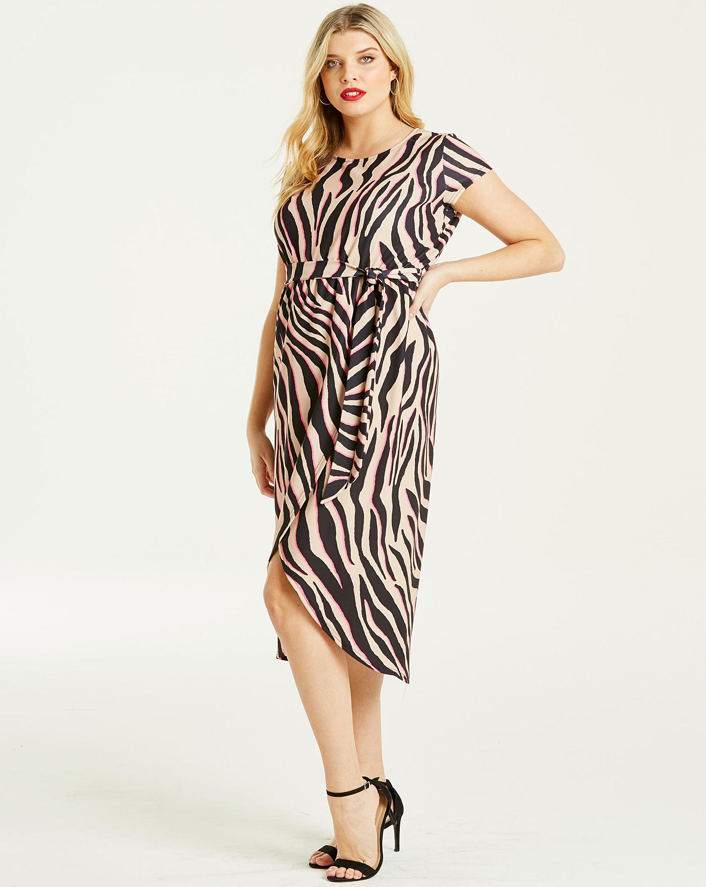 6c52d0ffee Description. Bang on trend! This pink zebra print wrap dress by Quiz ...