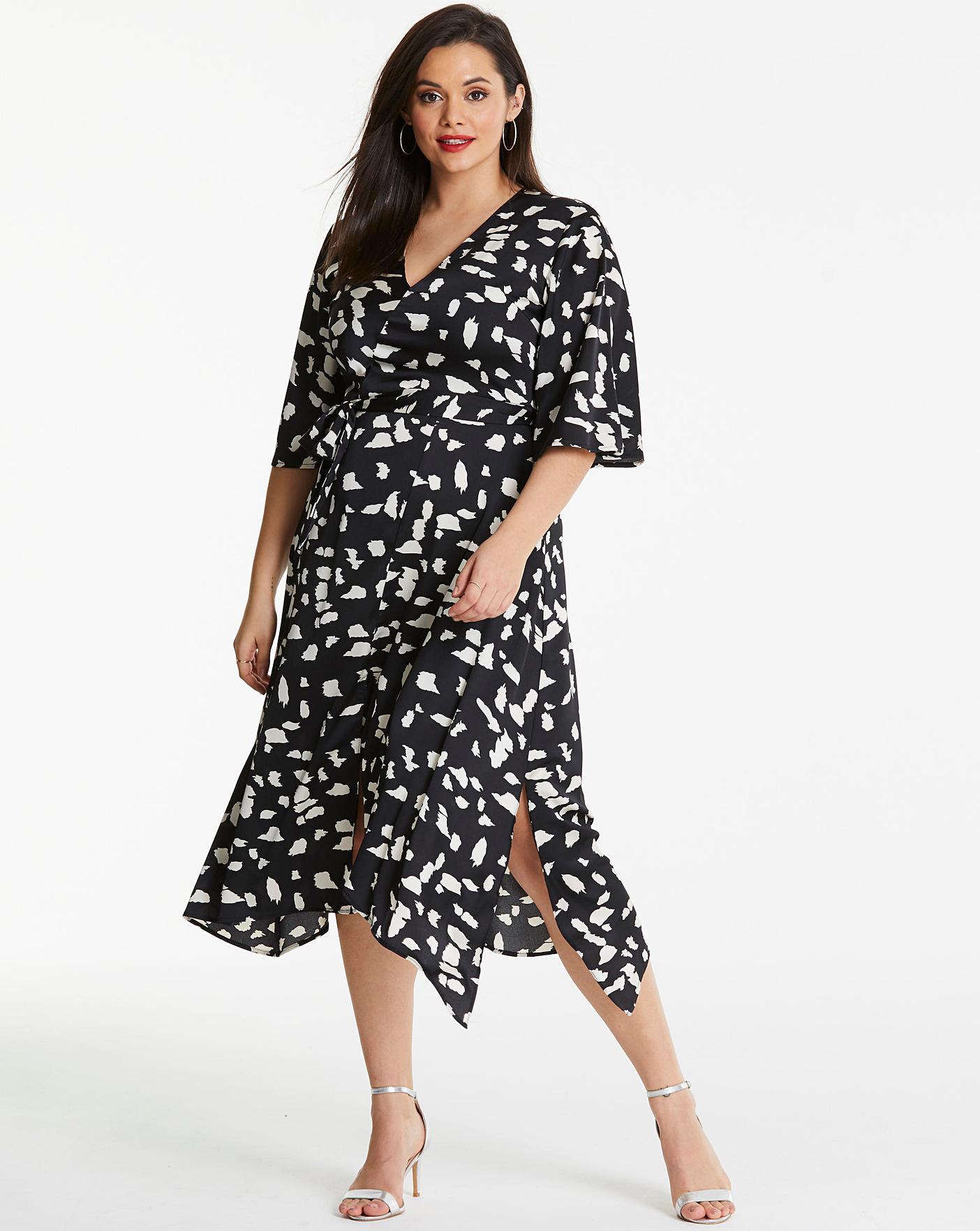 Ax Paris Mono Print Midi Dress Fashion World
