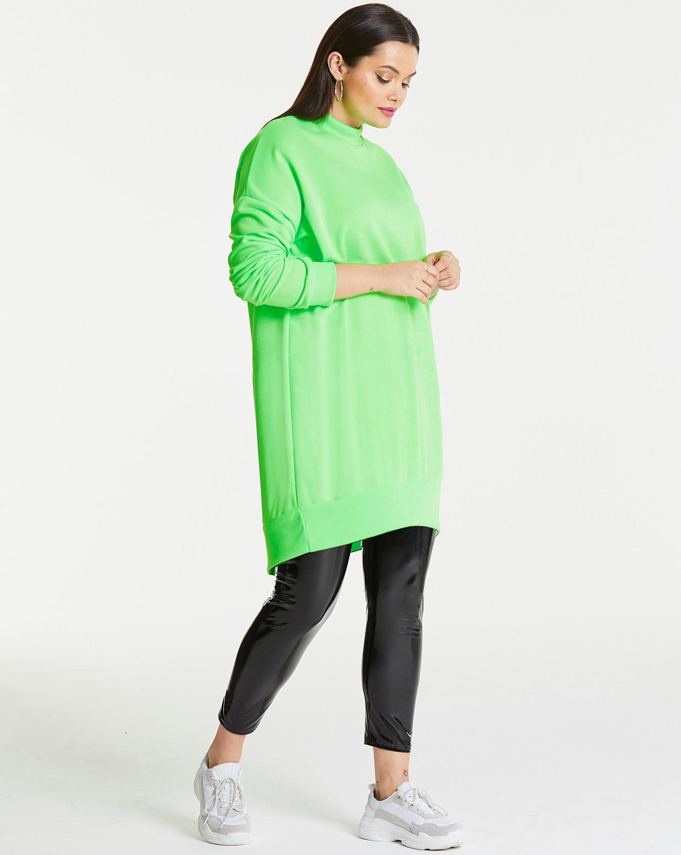 free delivery good selling newest collection AX Paris Neon Green Plain Jumper Dress