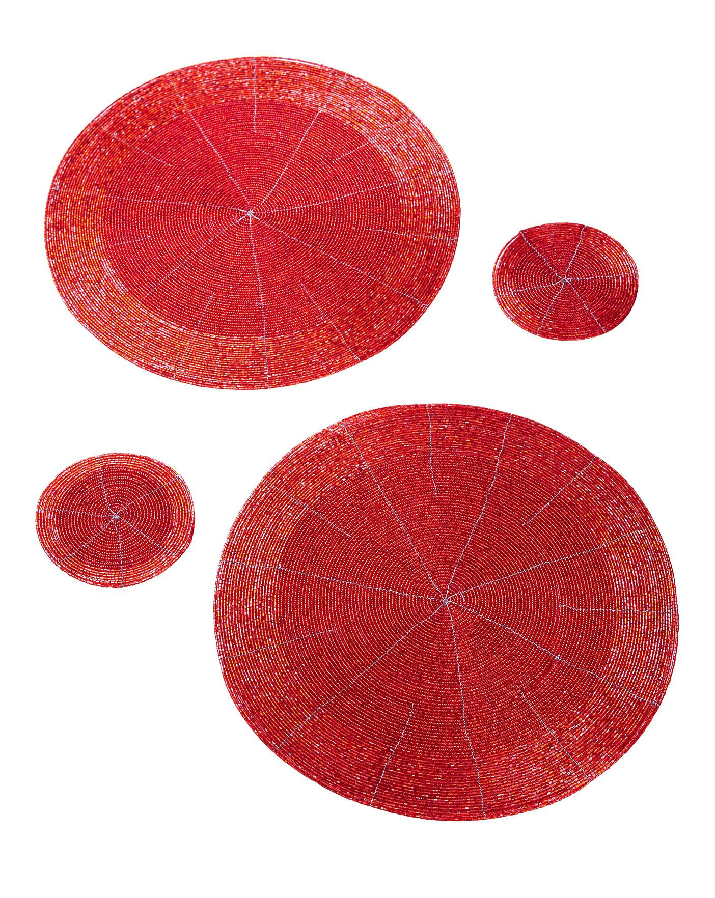 Beaded Round 2 Placemats Coasters Red