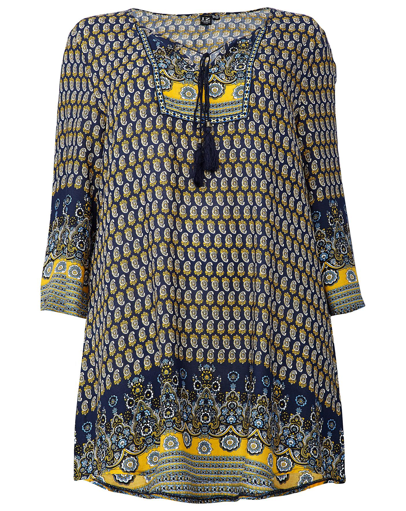 480bef443bd Izabel London Curve Border Print Tunic | Simply Be