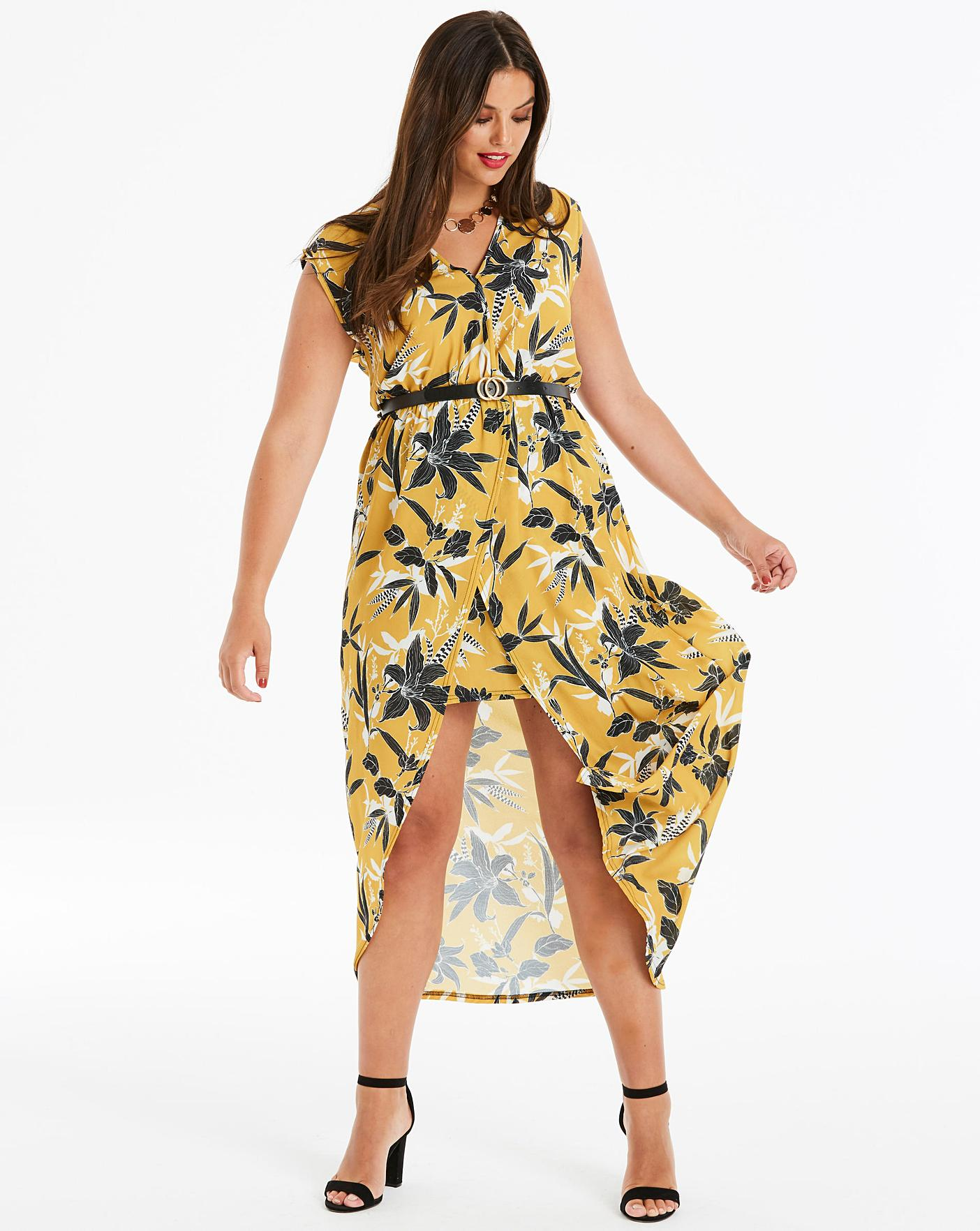c6e0337ea Quiz Curve Floral Printed Wrap Dress   Simply Be