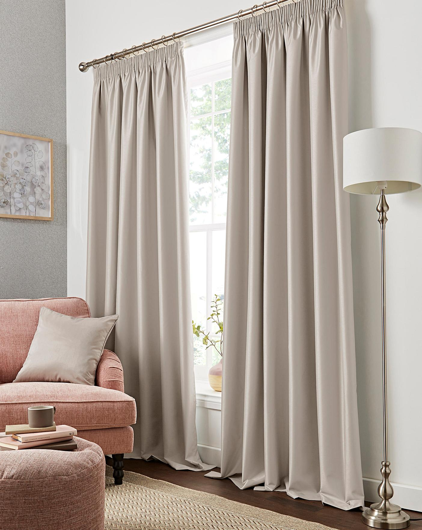 Faux Silk Pencil Pleat Blackout Curtains Simply Be