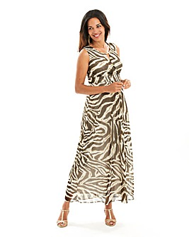 Joanna Hope Zebra Print Maxi Dress