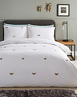 Dragonfly Embroidered Duvet Cover Set