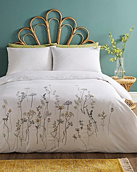 Dahlia Floral Embroidered Duvet Cover Set