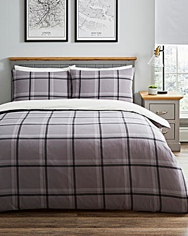 Broden Check Charcoal Duvet Set
