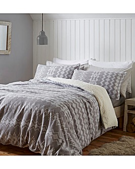 Alpine Fleece Grey Duvet Cover Set