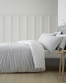 Dotty Grey Brushed Cotton Duvet Cover Set