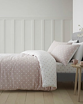 Dotty Blush Brushed Cotton Duvet Cover Set
