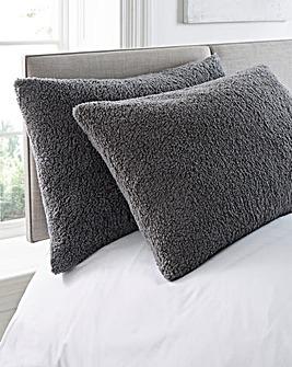 Grey Cuddle Fleece Pillow Pair