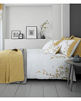 Embroidered Blossom White Duvet Cover Set